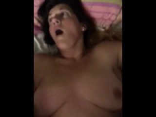 Blow my load on my wife's stomach  homemade amateur MILF Babe real big tit